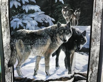 Snowy Wolf and Birch Wood Fabric Panel by Springs Creative