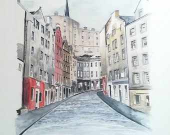 Victoria Street, Edinburgh. Watercolour drawing, 406 x 305 mm, 300 gsm paper.