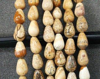 Beige Brown Picture Jasper Stone Teardrop beads 8x12mm- Central Drilled- 33pcs/strand