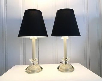Pair Vintage Mid Century Glass Small Scale Table Lamps