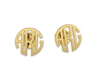 Monogram earrings- stud earrings Gold 14K or 9ct Personalized Name Earrings, gifts for bridesmaids, bridesmaid earrings initial earrings