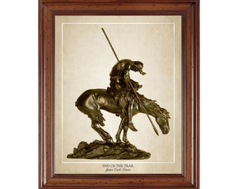 End of the Trail; 16x20 print depicting a sculpture by James Earle Fraser (1915)
