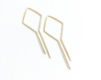 Solid gold hoops, solid gold earrings, 14k hoops, 14 kt gold hoops, simple gold, open hoop earrings, art deco jewelry, modern, unique,