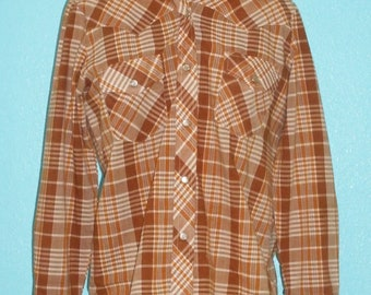 "70s Vintage Poly/Cotton Blend Rockabilly ""Amy Barr"" Long Sleeve Plaid Cowboy Western Snap Shirt — Ladies' size M/L"