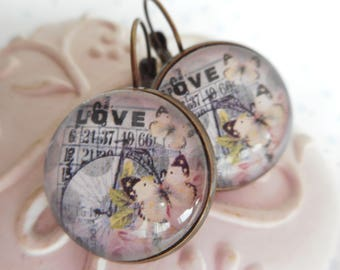"Earrings cabochon glass 20 mm ""love bingo"" bronze, butterflies, gray, pink, optional gift box"