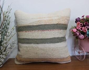Decorative pillow floor cushion anatolian kilim pillow 16x16 boho cushion striped pillow cojín bohemio aztec kilim pillow
