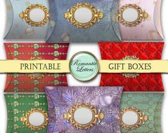 Christmas digital pillow boxes printable Christmas gift box digital printable Christmas gift box packaging Christmas jewelry gift box