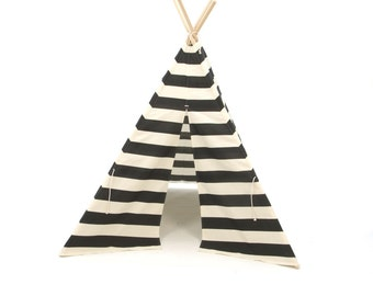 SALE!! Poles Included Teepee Play Tent black and natural stripe- 4 panel as featured in Kourtney Kardashian's piano room