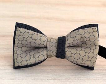 Bow 87. Iridescent gold. Pajarita hecha a mano con tela de algodón de gran calidad.