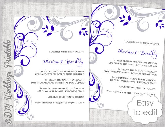 wedding invitation template silver gray and royal blue. Black Bedroom Furniture Sets. Home Design Ideas