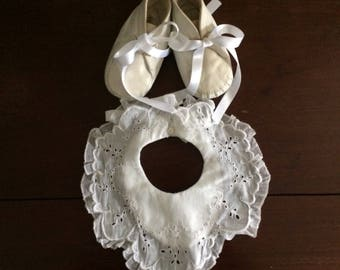 Vintage baby leather tiny shoes and bib