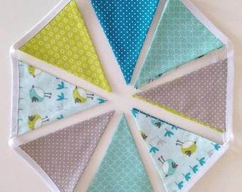 Green, blue, gray and white Bunting