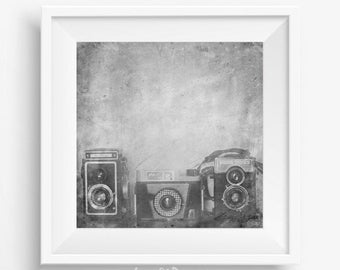 Vintage camera art photography - printable picture - still life photography - black white - black and white wall art - fine art photography