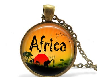 Africa Necklace / African Pendant / Africa Pendant / African Art / African Necklace / Art in Glass