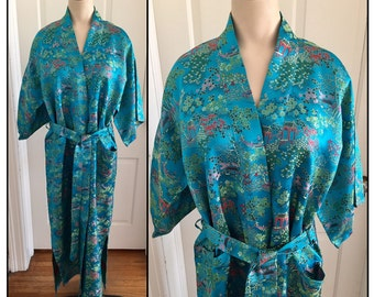 Vintage 1960s 70s Misses' Eastex Turquoise Satin Chinoiserie Robe S Small M Med