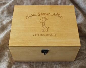 Personalized Baby memory box, Baby keepsake box, Giraffe memory box, Custom engraved box, Personalized keepsake box, Time capsule