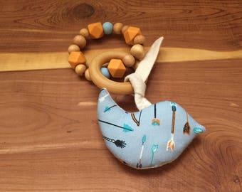 Little Critter Toy/Bird, Organic teether, Silicone Teether, Baby Teether, Teething Toy, Baby Shower Gift,