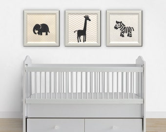 Nursery Print Set, Safari Animals, Nursery Decor, Nursery Wall Art, Safari Prints, Safari Theme Nursery Art, Animal Nursery Art Prints