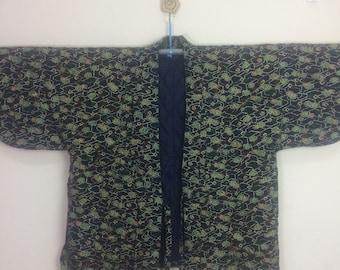 Vintage Japanese Hanten Haori Kimono Jinbei Boho Kaftan Hippie Jacket Floral Design Size L