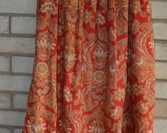 Vintage Italian Cotton Paisley Print Skirt Ralph Lauren