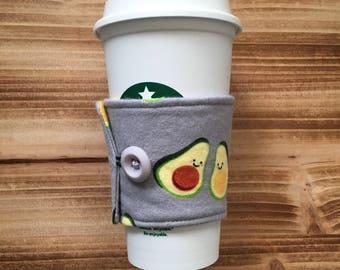 Avocado Cup Cozy, Coffee Cozy, Coffee Sleeve, Cup Sleeve, Reusable Cup Cozy. Avocado Accessorie, Avocado Gift.