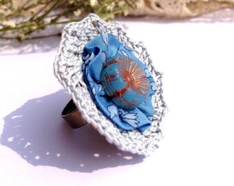 "Crochet gray blue DAHLIA ring / fabric Liberty Blue floral - boho wedding jewelry / everyday - spring 2015 ""Gypsy Chic"" Collection"