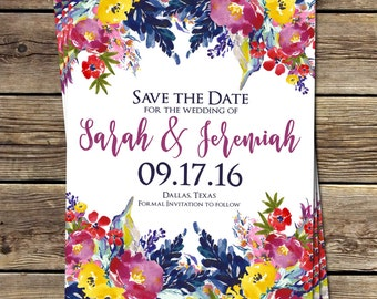 WATERCOLOR FLORAL Save The Date | Boho Floral