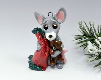 Mouse Christmas Ornament Figurine Handmade OOAK Porcelain