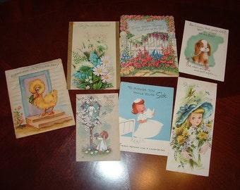 Antique cartes des années 1950 assortiment 7 Get bien utilisé