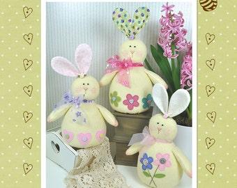 PDF Honey Bunnies Felt Pattern - Easter Decorations