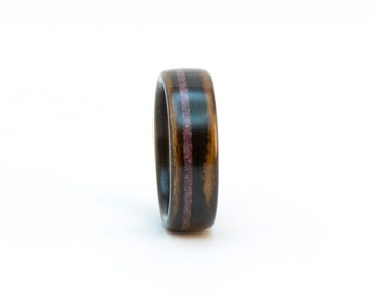 Size 7, Wooden Ring, Bentwood Ring, Ebony and Ruby Ring, Wood Wedding Band, Wood Ring for Women, Wooden Wedding Ring, Wooden Band, Wood Band