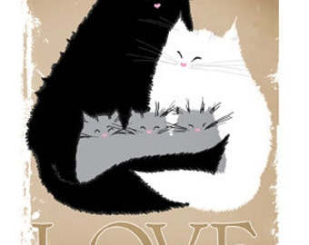 Cat card LOVE  A6 cat lovers greetings card