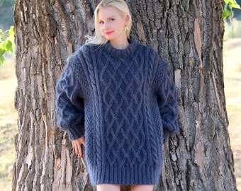 Luxurious Aran hand knitted mohair sweater, Fisherman handmade pullover by SuperTanya