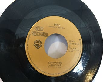 Devo Whip It and Rare Version of Satisfaction 45 RPM Vinyl Record WB Records Gold Standard