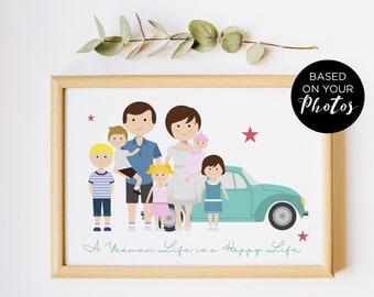 Illustration de famille personnalisé, cadeau fête des pères,  portrait de couple personnalisé, dessin de famille avec les animaux eenfants