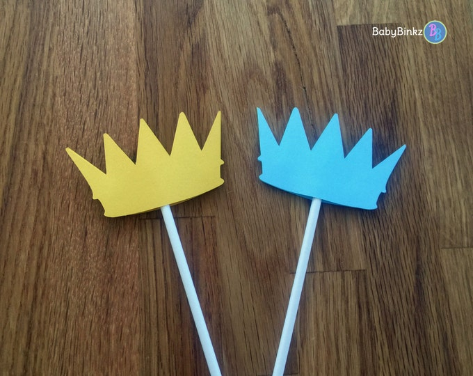 Cupcake Toppers: Little Prince Baby Shower - Die Cut blue gold crown birthday party royalty