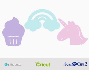 Cupcakes Rainbows & Unicorns SVG File - Cupcake svg - Rainbow svg - Unicorn svg - Cutting Files for Cricut, Cameo, Brother ScanNCut