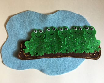 Five Green & Speckled Frogs - Children's Felt / Flannel Story for Early Childhood Education