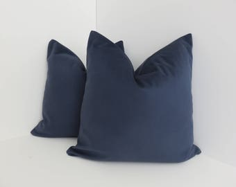 Brushed Canvas Pillow Covers- Midnight  Blue Pillow- Navy Blue Pillow- Soft Pillow Cover- Blue Pillow- Accent Pillow