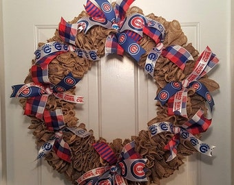 On sale Chicago Cubs Burlap Wreath