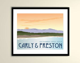California Coast Beach 11x14 Vintage Poster/Wedding Poster personalized with Names and date (frame not included)SM-1