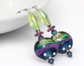 Lime, Purple, Blue Lampwork Earrings, Murano Glass Earrings, Artisan Lampwork Earrings, Multicolour, Sterling Silver, Elandra Designs
