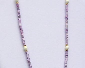 Lilac and Cream Beach Necklace