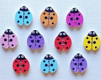 20 Wooden Ladybug Buttons - #SB-00079
