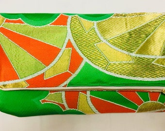 Green, Orange and Gold Vintage Obi Silk Fold-over Clutch Purse