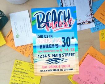 BEACH PLEASE Customizable Party Invitation!