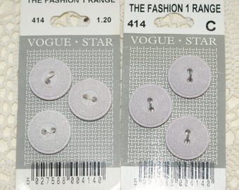6 Pale Lilac Plastic Buttons Vogue Star 10mm Still on OPriginal Card #36
