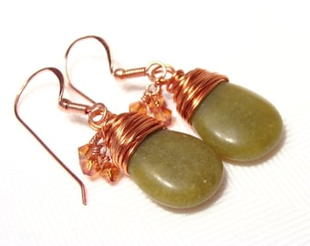 Green Serpentine Briolette Earrings with Copper and Crystals