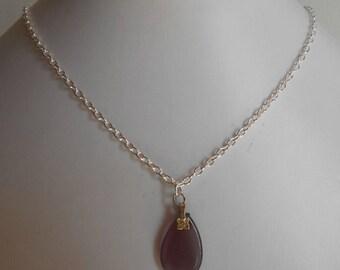 Minimalist necklace purple plum glass Teardrop