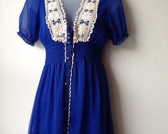 Royal Blue Vintage Dress Frilly Lace Rara Petite Small Size